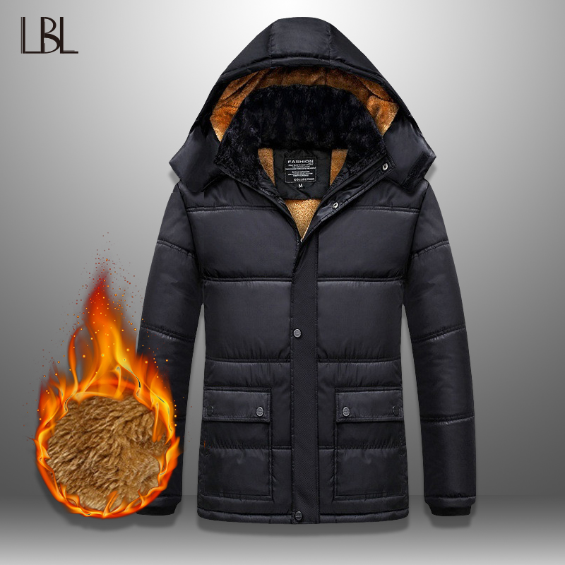 LBL Winter Men   Parka   Coats Windproof Outwear Thick Mens Hooded Jacket Coat New Warm Thicken Zipper Overcoat Male Hat Detachable