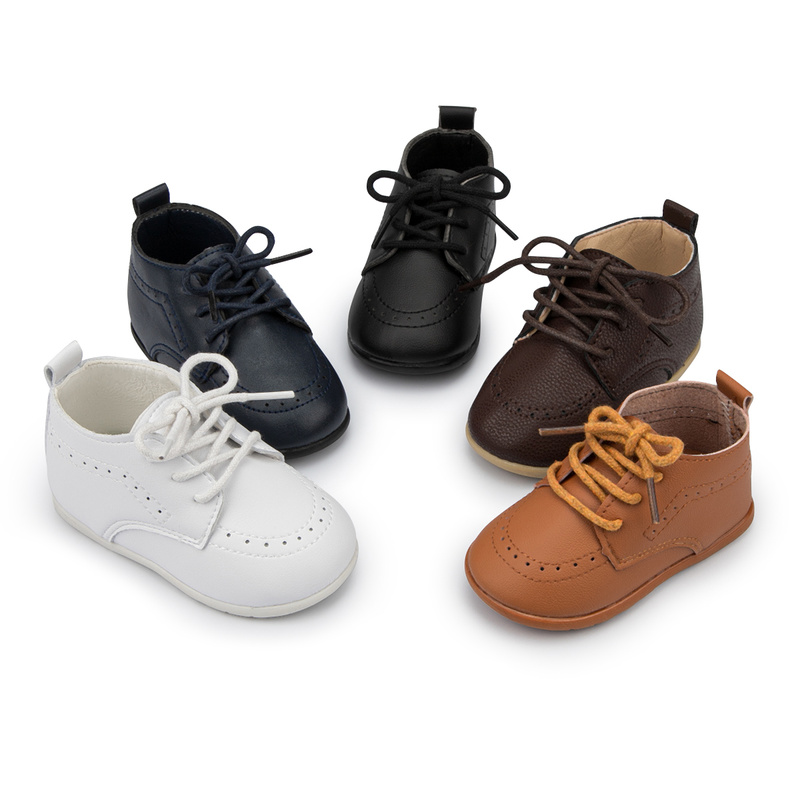 KIDSUN Baby Leather Shoes Boys Girls Classic High Top PU Wedding Loafers Brogue Toddler Oxford Dress Toddler First Walkers Flat