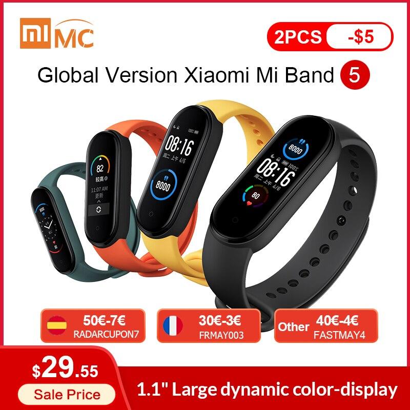 "Original Xiaomi Mi Band 5 Smart Bracelet 1.1"" AMOLED Colorful Screen Heart Rate Fitness Tracker Bluetooth 5.0 Waterproof Miband5 Smart Wristbands  - AliExpress"