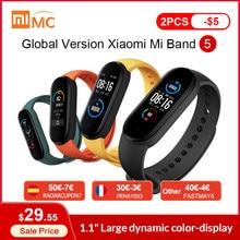 (€30-€3 code : FRMAY003 ) Xiaomi – Bracelet connecté Mi Band 5, Version globale, écran AMOLED 1.1 pouces, moniteur de fréquence cardiaque et d'activité physique, BT 5.0, étanche