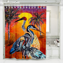 Ombre Watercolor Art 3D Shower Curtain Crane Decoration Bathroom Curtain Waterproof Fabric Bath Curtain douchegordijn landschap цена в Москве и Питере