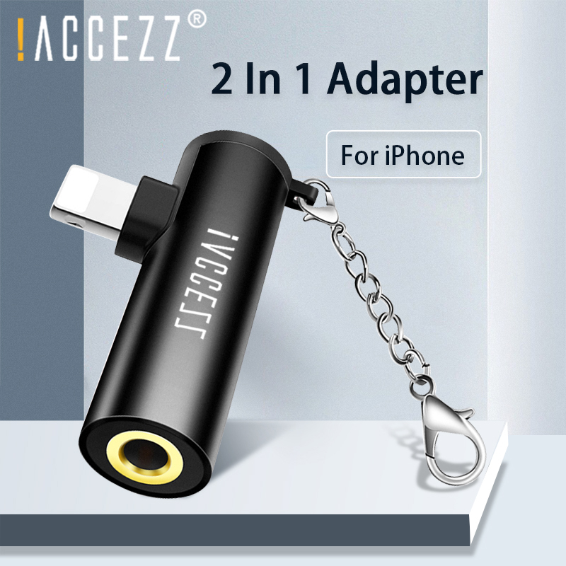 !ACCEZZ 2 In 1 For Apple Adapter Charging Listening For IPhone 7 8 Plus X XS XR MAX Lighting To 3.5mm Jack Audio Cable Connector