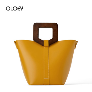 Image 2 - Vintage Fashion Female Tote bag 2019 New Quality PU Leather Womens Wooden handle Designer Handbag Shopping Messenger bag Bolsas