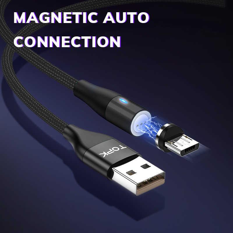 TOPK AM60 3rd Generat Từ Cáp Micro USB Bọc Nylon Sạc Nhanh USB Cáp Dữ Liệu Cho Xiaomi Samsung Cáp Sạc Từ Tính
