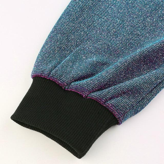 Crop Top Hoodies with glitter in purple