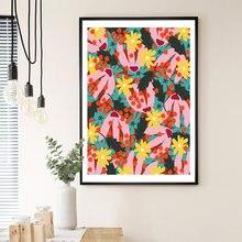 Современные разноцветные абстрактные растения цветы Настенная