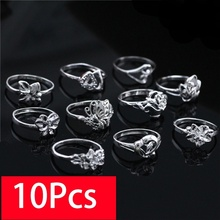 10Pcs Heart Shape Jewelery Ring Women Fashion Flower Classic Retro Sterling Silver 6/7/8/9 Mixed Packaging Wholesale