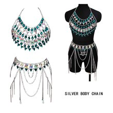 Tassel Metal Chain Skirt Set Crystal Sexy Bra Slave Harness Body Chain Women Choker Necklace Bikini Beach Punk Goth Rave Jewelry(China)