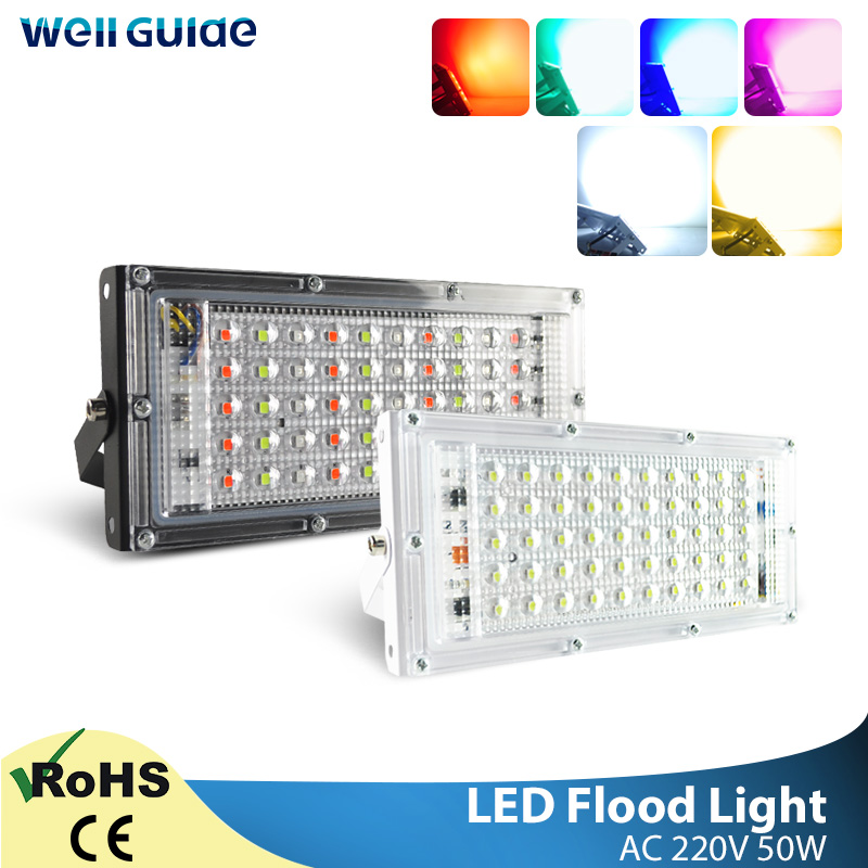 LED Floodlight 50W Flood Light Cold Warm Red Green Blue AC 220V 2835 SMD Chip LED Street Lamp Waterproof IP65 Outdoor Lighting