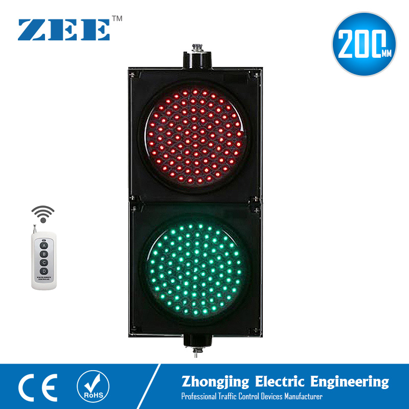 Wireless Control Remote Control 8inches 200mm LED Traffic Light Red Green Traffic Signals 220V LED Light