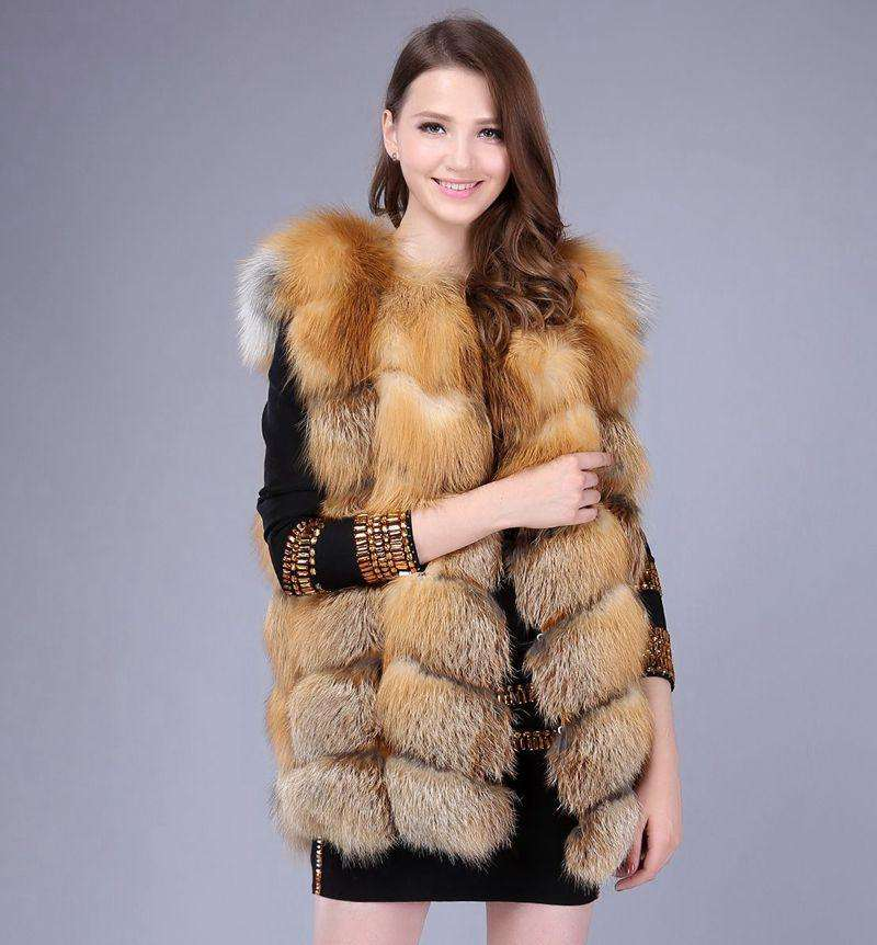 2019 Ladies New Natural Fox Fur Square Vest Real Fur Vest Casual Fashion European Autumn And Winter Street Style