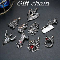 1PC Gothic Skeleton Red Eye Dragon Angel Necklace For Women Men Punk Rock Vintage Metal Animals Pendant Necklace Jewelry N71