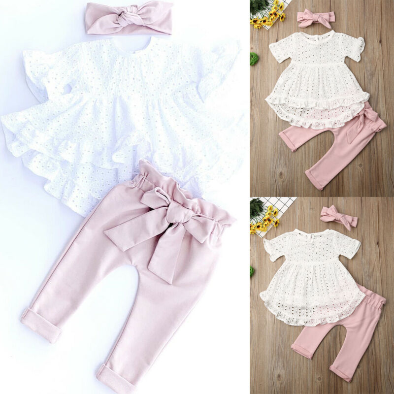 Newborn Kid Baby Girl Clothes Lace T-shirt Hollow Tops Bow Pants Leggings Outfit