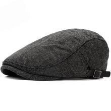 HT2648 Beret Cap Autumn Winter Wool Hat Vintage Women Men Adjust Ivy Newsboy Flat Male Gastby Artist Painter