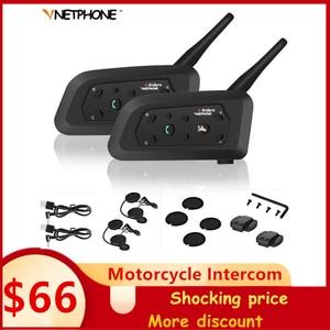 Image 1 - 2pcs V6 오토바이 인터폰 블루투스 헬멧 헤드셋 6 라이더 인터폰 1200M 무선 Intercomunicador 모토 지원 MP3