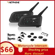 Oreillette Bluetooth V6 pour Moto, appareil de communication pour casque, pour 6 motocyclistes, Interphone sans fil à portée de 1200M, kit mains libres avec Support MP3, 2 pièces