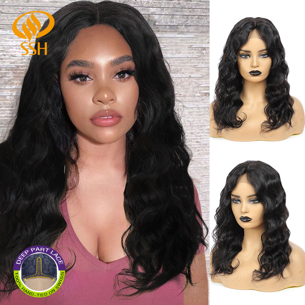 Short Curly Loose Wave Wigs Lace Part Remy Brazilian Human Hair Wigs with Pre Plucked  16 inch 150 denstiy for Black Women Wigs