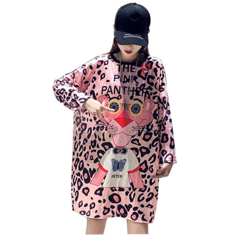 QING MO/розовое платье с длинными рукавами и рисунком из мультфильма для женщин; желто-красное Полосатое платье-свитер; Платье До Колена; пуловер; платье в горошек; ZLDM005