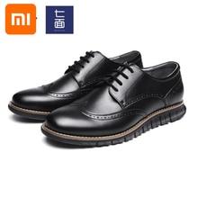 Мужская легкая обувь Xiaomi Mijia qimian, деловая повседневная обувь в стиле Дерби, с резным узором, под платье