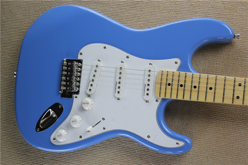 Chinese guitar factory custom new blue ST Electric Guitar Maple Fingerboard free shipping 01