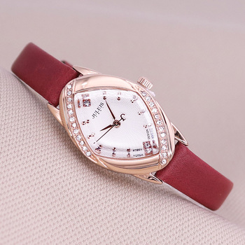 Top Lady Women's Watch Japan Quartz Elegant Rhinestone Fashion Hours Dress Bracelet Leather Girl Birthday Gift Julius Box