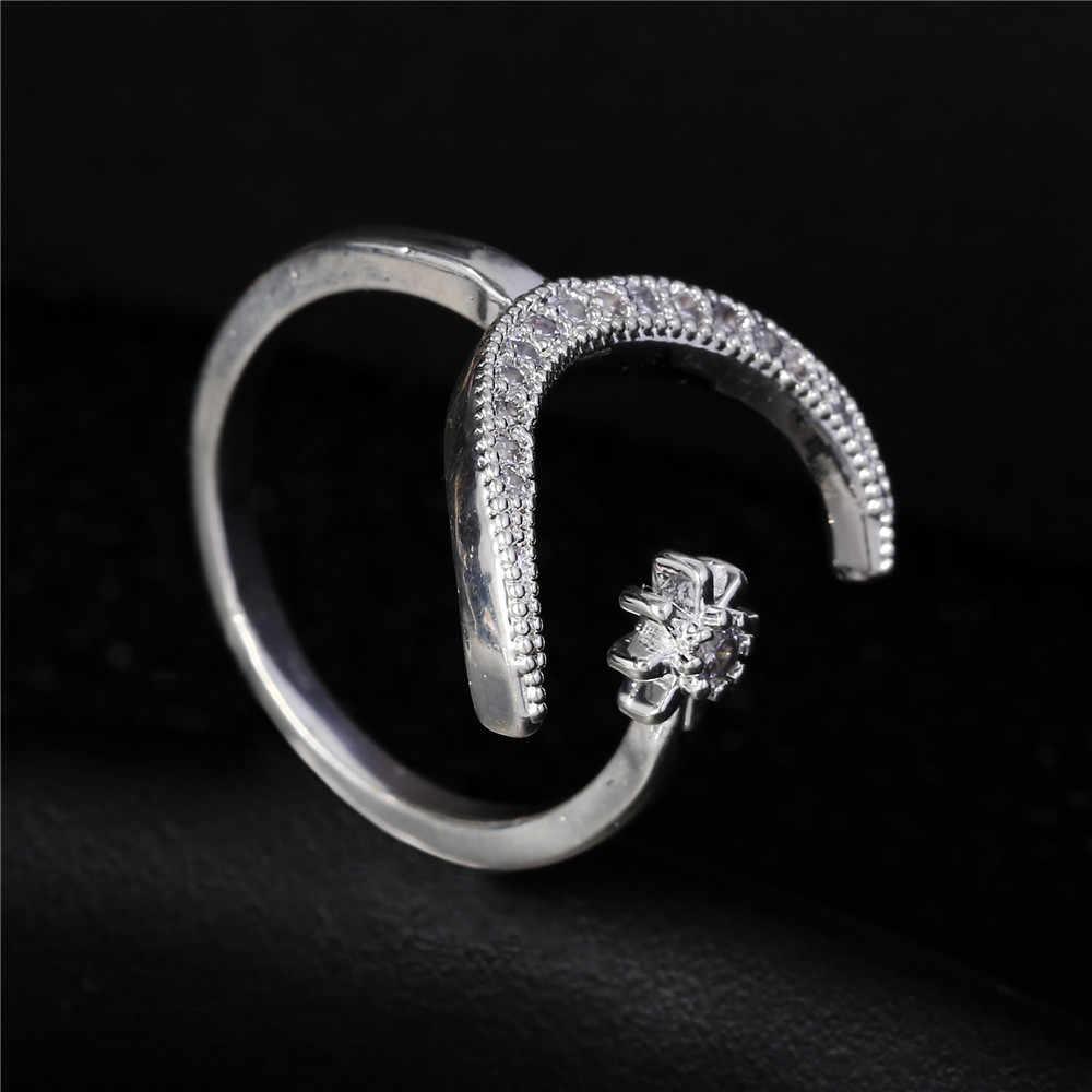 2019 ใหม่แฟชั่นแหวน Moon & Star พราวเปิดแหวนนิ้วมือสำหรับผู้หญิงเครื่องประดับคริสตัลแหวนเครื่องประดับหมั้นของขวัญ