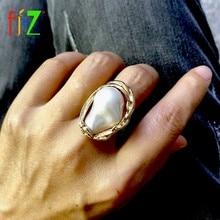 F.J4Z-anillos de dedo de moda para mujer, joyería Bohemia grande Irregular de perlas, para dedo, 2019
