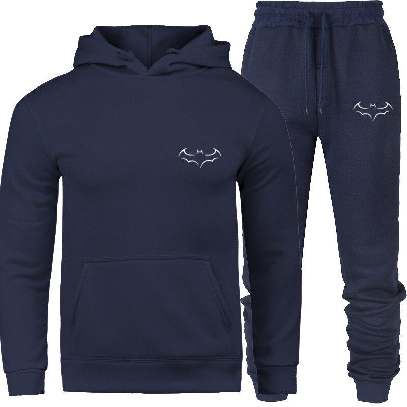 New Hit Line Men's Sweatshirt Hoodied Printed Thermal Men's Tracksuit Suit Heavy Hoodie + Pants Men's Tracksuit 2020