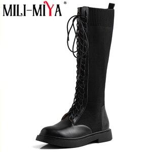 Image 2 - Nova marca de moda feminina na altura do joelho botas de couro de vaca deslizamento em saltos quadrados famosas senhoras de inverno sapatos tamanho 34 40 botas de motocicleta