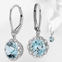 Trendy Blue Zircon Flower Earrings For Bridal Jewelry Womens Fashion  Clasp Earring 2019 New Z4Q381