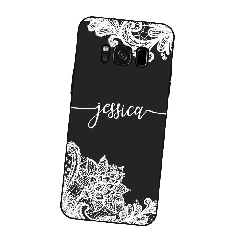Lace Custom Your Name DIY Black Soft TPU Silicon Case Cover For Samsung Galaxy S5 S6 S7 S8 S9 S10 S10E Lite Edge Plus in Fitted Cases from Cellphones Telecommunications