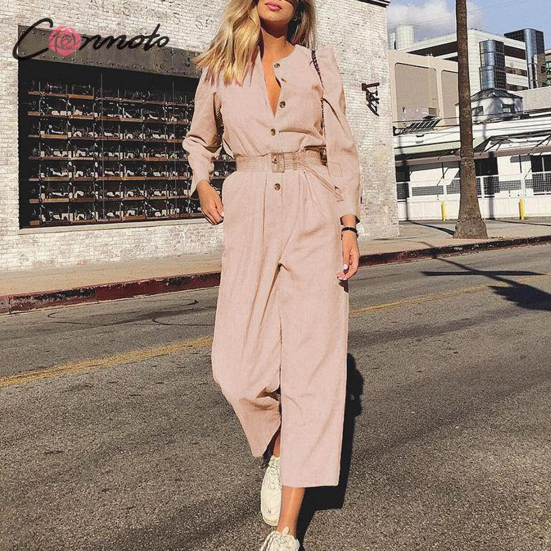Conmoto Vintage Pink Corduroy Jumpsuit Women Jumpsuit Romper High Fashion Button Belt Jumpsuits Casual Ladies Jumpsuit Overall