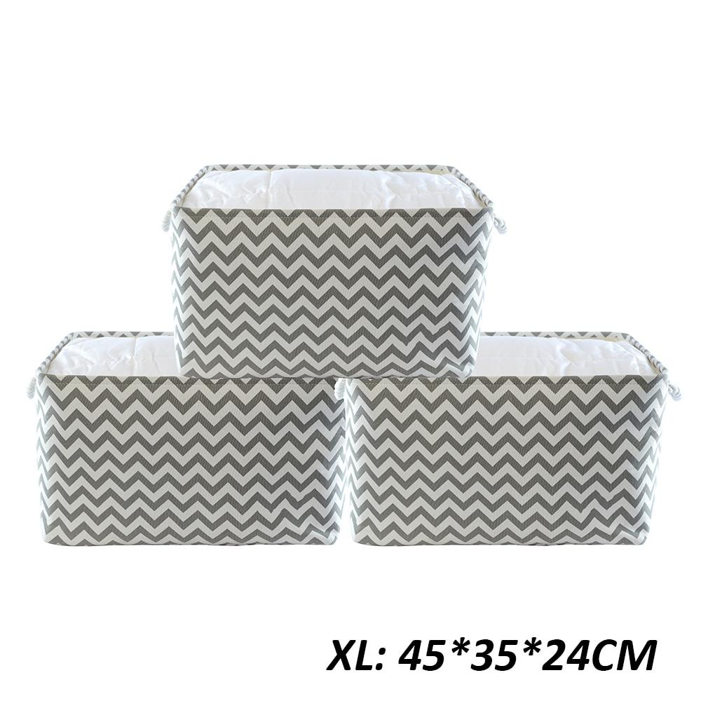 3 PCS Folding X Large Size Laundry Cube Canvas Fabric Storage Basket Organizer