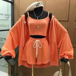 DEAT 2021 New Summer Fashion Casual Zipper Solid Long Sleeve Lace Up Hooded Sweater Coat Slim Three Piece Suit Women SB782