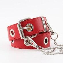 New Women Belt PU Leather Silver Pin Buckle Belt Fashion Punk Jeans Strap Fashion Individual Decorative Belt Chain Women Belt цена