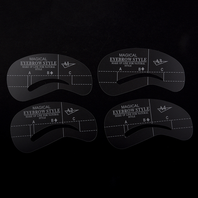 NEW-4 Styles Stencil Kit Make up Shaping Beauty Eyebrow Template Tools (A1-A4.) 2