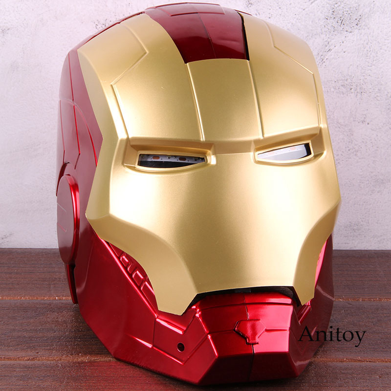 Image 2 - Marvel Avengers Iron Man Helmet Mask Motorcycle Iron Man Cosplay Helmet 1:1 Light Eyes PVC Action Figure Collectible Model Toy-in Action & Toy Figures from Toys & Hobbies
