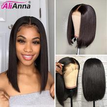 Peruca curta frontal renda cabelo humano, perucas curtas pixie corte bob pré-selecionado frontal alianna brasileiro reto peruca de cabelo humano,