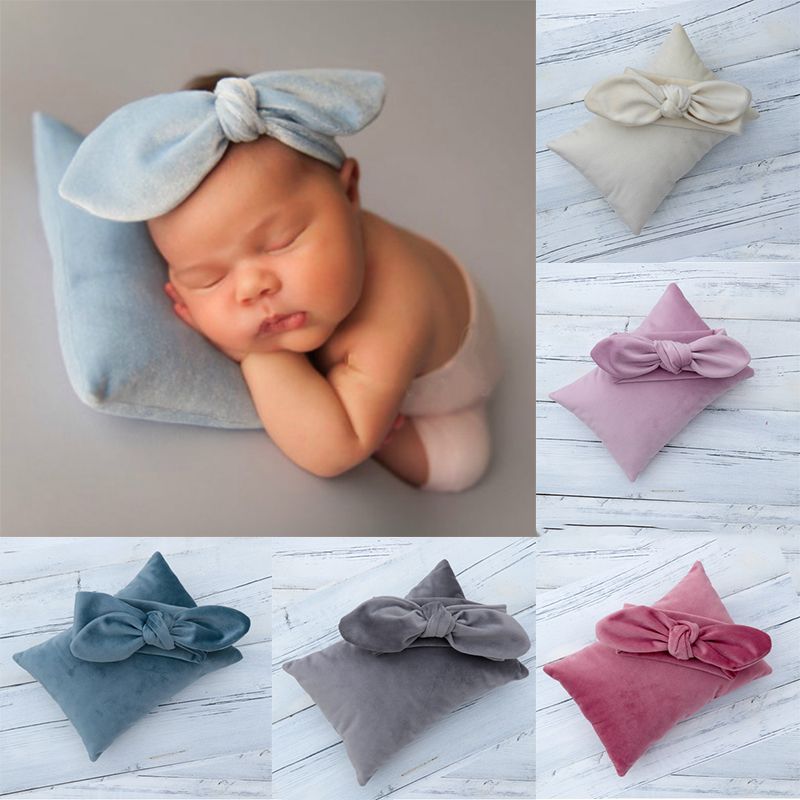 Baby Headband Velvet Top Knot Bow Headband And Pillow Set Newborn Photography Props Accessories Posing Pillow And Headband