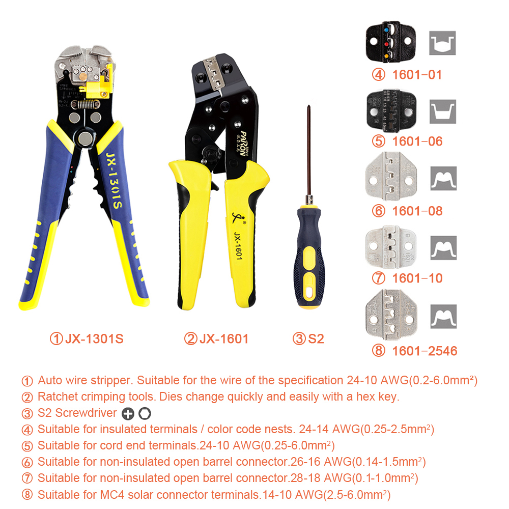 Tools : Professional Wire Crimpers Engineering Ratcheting Terminal Crimping Pliers Wire Strippers Bootlace Ferrule Crimper Tool Kit
