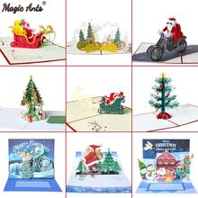 Merry Christmas Cards Tree Winter Gift Pop UP Decoration  Stickers Laser Cut New Year Greeting