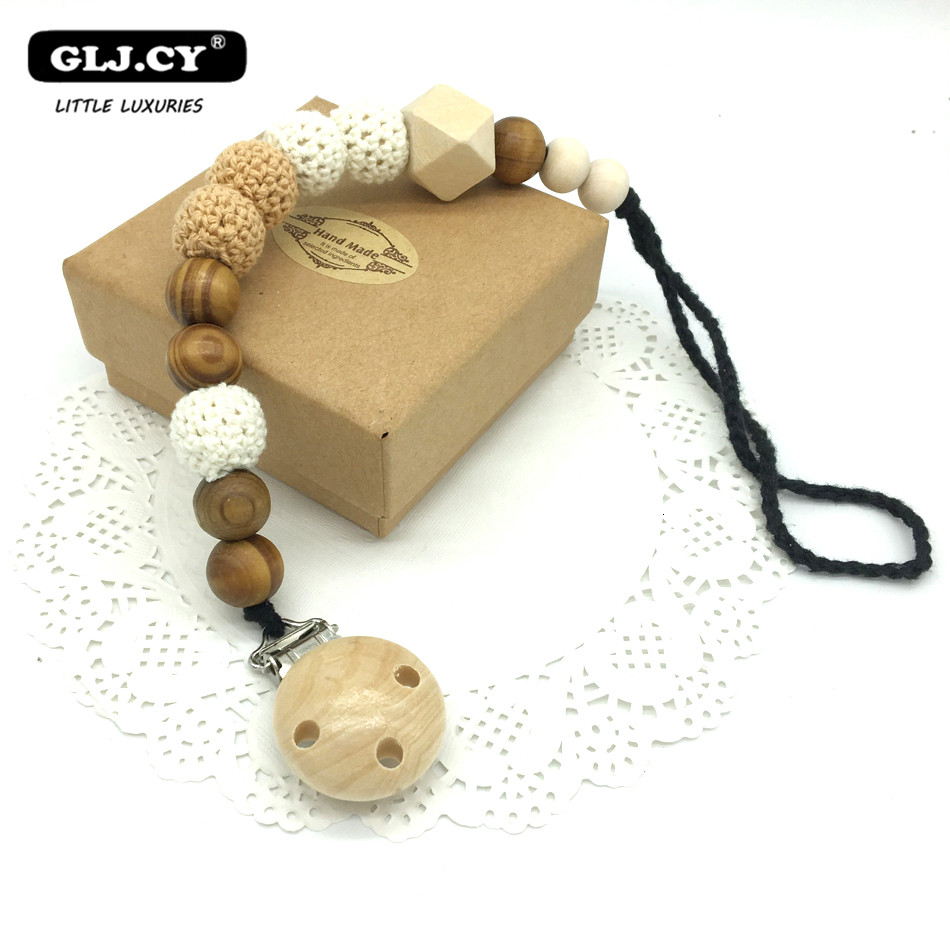 2017 New 20mm Grey Black Gradient Baby White Pacifier Clip Dummy Holder Cotton Chain Natural Beech Wooden Beads Crochet NT206
