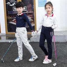Новое поступление, Детские рубашки для гольфа с длинными рукавами, дышащие топы со стоячим воротником для мальчиков и девочек, спортивная одежда полной длины для подростков, D0856