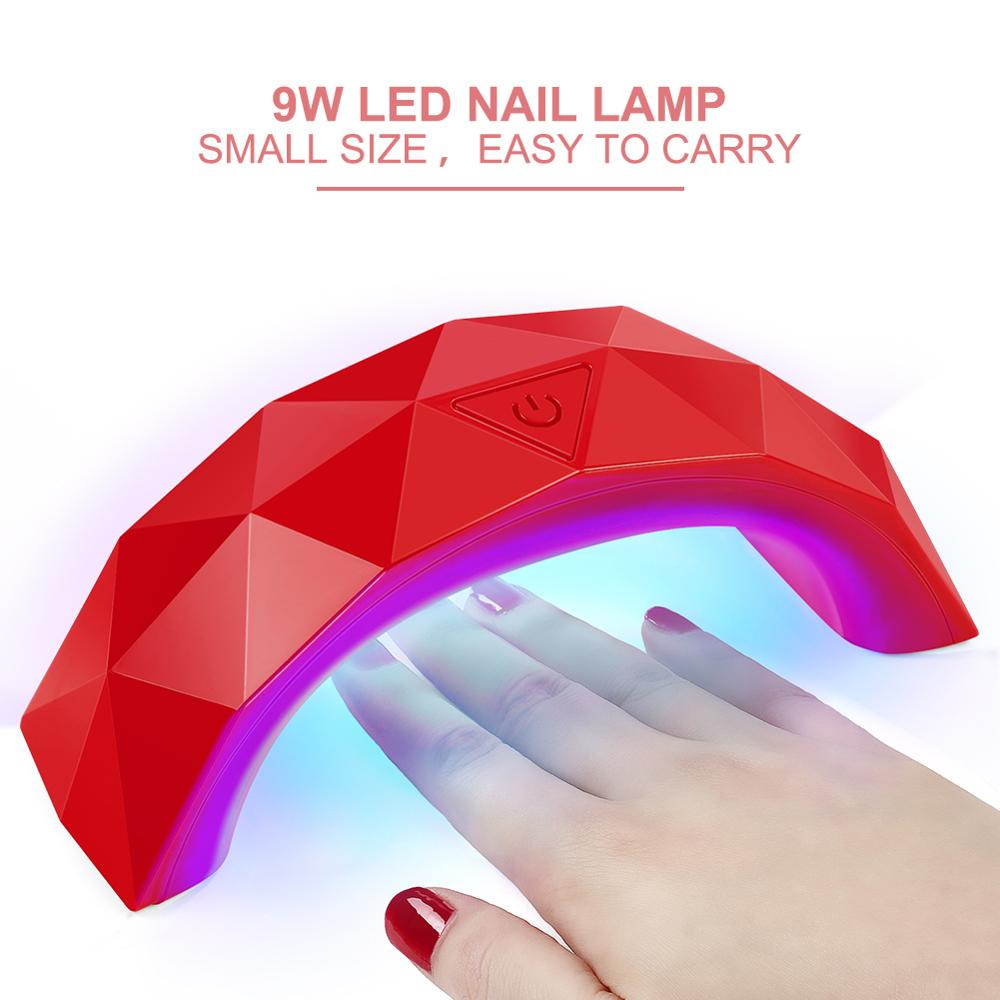 9W USB Line Mini LED Lamp for Portable Nails Dryer Rainbow Shaped Nail Lamp Curing for UV Gel Nail Polish Dryer Nail Art Tool