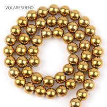 "Smooth Gold Hematite Stone Round Loose Beads 15"" Strand Pick 4-10mm Spacer For Charm Necklace Accessory Jewelry Making"