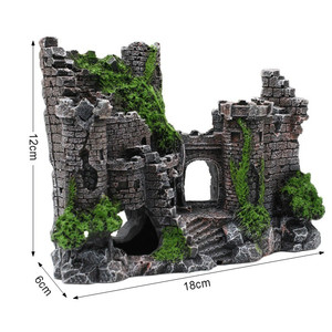 Image 2 - 新しい樹脂人工魚タンク古代城の装飾水族館ロック洞窟建築装飾水生造園飾り