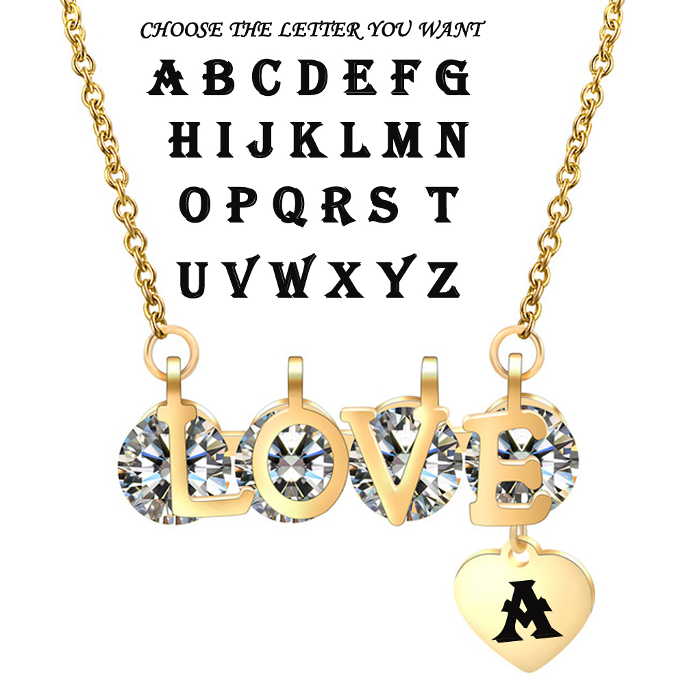 Personalized A To Z 26 Letters Initial Necklaces For Women Stainless Steel Custom Jewelry Alphabet Necklace With Heart Pendant