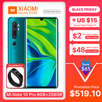 "Global Version Xiaomi Mi Note 10 Pro 8GB 256GB Smartphone Snapdragon 730G Octa Core 5260mAh 6.47"" 2340*1080 108MP Mobile Phone"