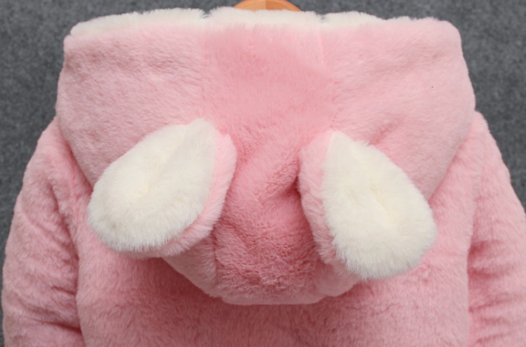 Baby girl winter coat girl rabbit ears hooded coat wool sweater cartoon smiling face plus velvet thick warm plush coat baby coat 6