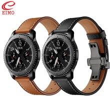 Włochy skórzany pasek do samsung Gear s3 galaxy zegarek 46mm 22mm zegarek pasek bransoletka Huawei zegarek gt pasek motyl klamra 46